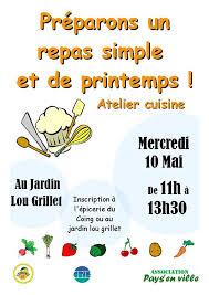 affiche atelier cuisine pays en ville atelier cuisine au jardin lou grillet