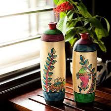 Decorative Item For Home Exclusivelane Madhubani Handpainted Bottle Shaped Terracotta Vase