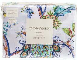 Cynthia Rowley Duvet Cover Cynthia Rowley Jacobean Vines Peacock Bird Floral 3pc Full Queen
