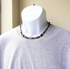 beaded necklace tattoo images Mens tribal style necklace carved bone black onyx red tiger jpg