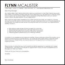 client service executive cover letter