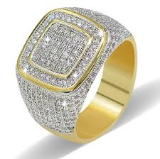 ring men 1 pc diamond gold plated ring gold ring diamond ring men ring hip