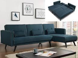 vente unique com canapé canapé convertible tissu gris ou bleu canard calobra