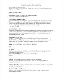 Wedding Itinerary 7 Wedding Itinerary Template Free Sample Example Format