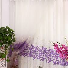 White Cotton Curtains Pastoral White Cotton Curtains With Lilac Floral Printing Buy