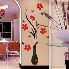 diy vase flower tree crystal arcylic 3d wall stickers decal zolimx
