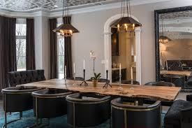 contemporary dining room with restoration hardware european