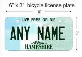 New Hampshire Vanity Plate New Hampshire State Replica Mini License Plate For Bicycles Bikes