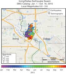 Dallas On Map by New Smu Map Shows Dallas Irving Keep Earthquaking Along Fault
