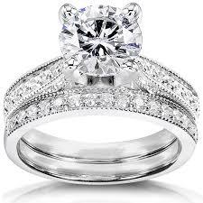bridal sets for forever one ghi moissanite bridal set with diamond 2 1 3 ctw 14k