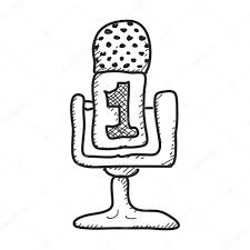 drawn microphone simple pencil and in color drawn microphone simple