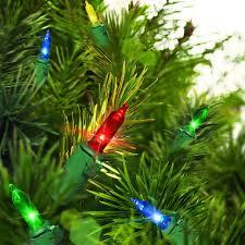 time led mini light set green wire multi bulbs 50 count