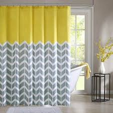 Yellow Bathroom Accessories by Details About Fabric Shower Curtain Chevron Print Gray Yellow