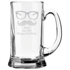 personalized cool moustache engraved beer mug giftsmate