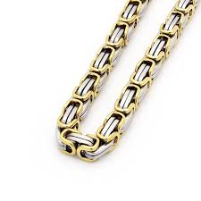 mens byzantine necklace gold images Mens 8 5 quot stainless steel gold silver box byzantine chain link jpg