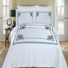 fleur de lis bed sethotel black white medallion embroidered cotton