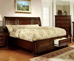 King Storage Platform Bed Furniture Of America Cm7683ck Northville Transitional Cherry