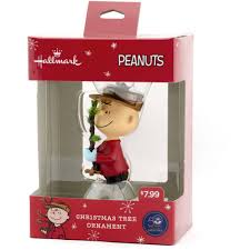 hallmark peanuts charlie brown with a christmas tree resin