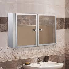 homcom stainless steel cabinet mirror double doors shelves mounted