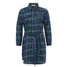 Ladies Check Belt Button Collar Longline Womens Tartan Print Shirt