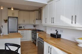 Kitchen Design Belfast Bella Shaker Alabaster Kitchen With Solid Oak Worktops U2013 Schofield
