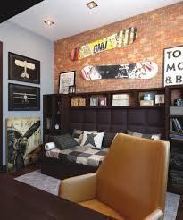 deko für jugendzimmer wandgestaltung jugendzimmer junge stil tapete backsteinwand