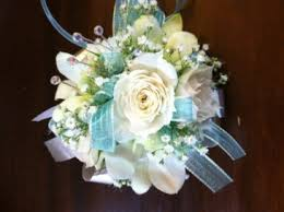 wristlet corsage aqua and white wristlet corsage in tillamook or florist