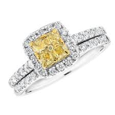 diamond bridal sets canary yellow cushion diamond and diamond bridal set 1 1