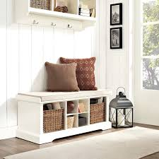 Small Hall Bench Shoe Storage A Small Hallway With A White Shoe Cabinet And A Seating Bench With