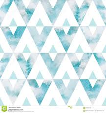 Blue Shades Watercolor Sky Triangles Seamless Vector Pattern Stock Vector