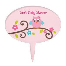 mod owl birthday or baby shower cake topper zazzle com