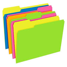 pendaflex glow twisted file folders letter size 3 tab assorted