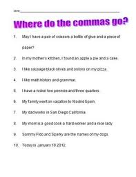 commas in a series worksheet second grade elementary by joanne