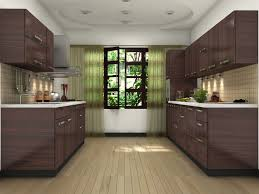 brown modular kitchen design ideas parallel shaped modular