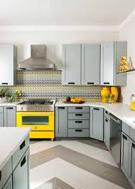 blue gray white and yellow kitchen herringbone striped floor
