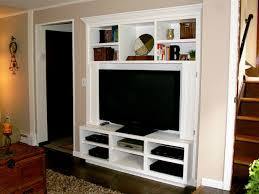 furniture varnished wooden tv stand with fireplace and shelves
