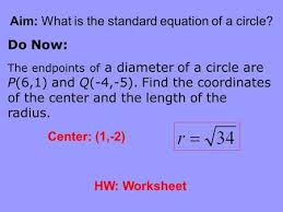 eq how do you write the equation of a circle what does each