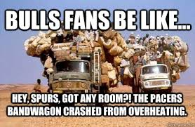 Pacers Meme - hey spurs got any room the pacers bandwagon crashed from