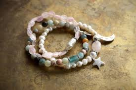 pearl bracelet with silver charm images Moon and star bracelet rose quartz pearl bracelet sterling silver jpg