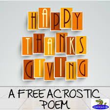 thanksgiving acrostic poem for thankful free by happyedugator tpt