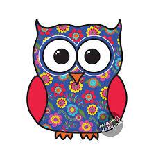 blue floral owl car decal sticker cute colorful owl bumper