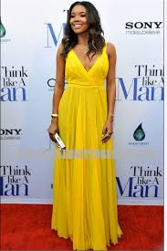 union think like a man premiere yellow prom dress