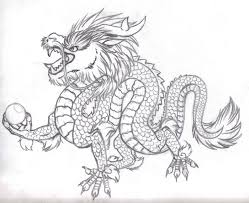 drawn chinese dragon oriental dragon pencil and in color drawn