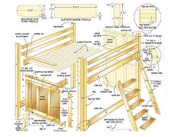 Free Loft Bed Plans Pdf by Full Size Loft Bed Plans Complete View Of Parts Exploded So You