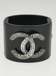 cuff bracelet black images Chanel black resin and crystal cc wide cuff bracelet yoogi 39 s closet jpg