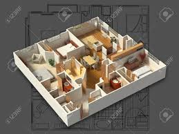 3d isometric rendering of a furnished residential house showing