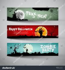 happy halloween banner happy halloween banners set design trick stock vector 316629083