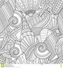 sea shells black and white seamless pattern for coloring book
