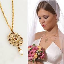 pearl necklace wedding images Handmade wedding victorian vintage 24k gold chain crystal pearl jpg