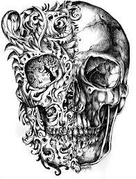 skeleton and engine tattoos on half sleeve